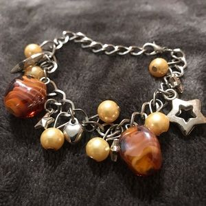 Beaded Bracelet With Star And Heart Charms
